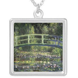 Water Lilies and Japanese Bridge Silver Plated Necklace