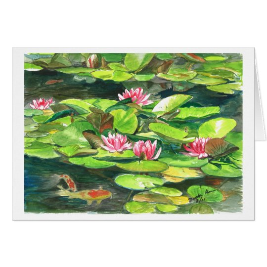 Water Lilies and Koi Fish Card