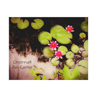 Water lilies and koi pond stretched canvas prints