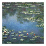 "Water Lilies by Monet Vintage Floral Impressionism 5.25"" Square Invitation Card"