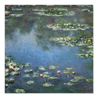 """Water Lilies by Monet Vintage Floral Impressionism 5.25"""" Square Invitation Card"""