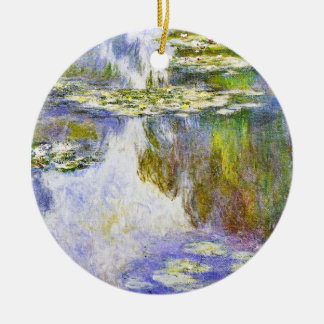 Water Lilies Claude Monet cool, old, master, maste Double-Sided Ceramic Round Christmas Ornament