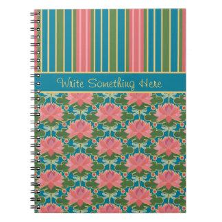 Water Lilies, Dragonflies, Stripes Spiral Notebook