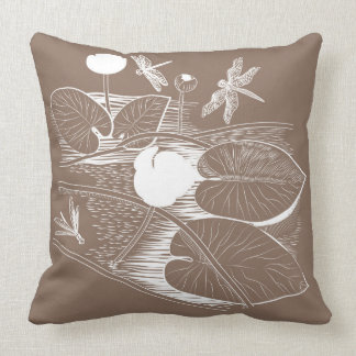 Water-lilies engraving cushion