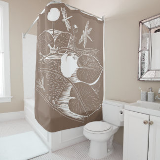 Water-lilies engraving shower curtain