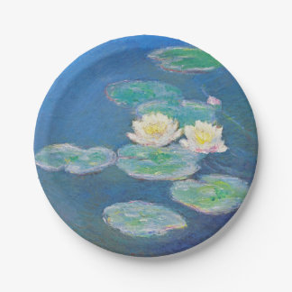 Water Lilies, Evening Effect by Monet 7 Inch Paper Plate
