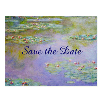 Water Lilies Flower Painting Save the Date Wedding Postcard