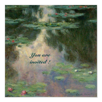 WATER LILIES IN PINK GREEN BLUE REFLECTIONS CARD