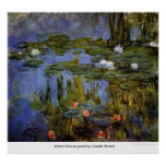 Water lilies in pond by Claude Monet Poster