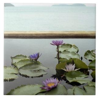 Water lilies in pond by ocean tile