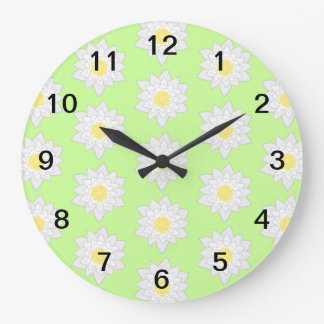 Water Lilies, Light Green Background. Large Clock