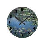 Water Lilies, Monet, Vintage Impressionism Flowers Wall Clocks