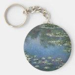 Water Lilies, Monet, Vintage Impressionism Flowers Keychain
