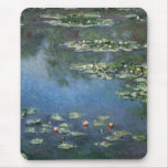 Water Lilies, Monet, Vintage Impressionism Flowers Mouse Pads