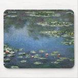 Water Lilies, Monet, Vintage Impressionism Flowers Mousepads