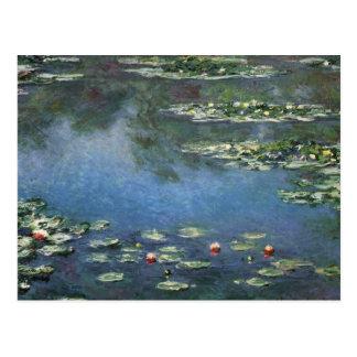Water Lilies Monet Vintage Impressionism Flowers Postcard