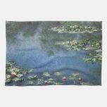 Water Lilies, Monet, Vintage Impressionism Flowers Hand Towel