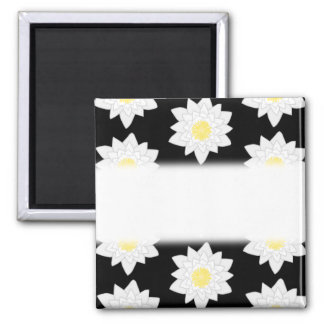 Water Lilies on Black. Floral Pattern. Magnet