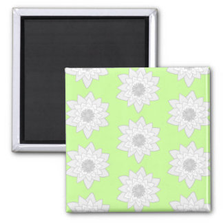 Water Lilies Pattern in Green, White and Gray. Square Magnet