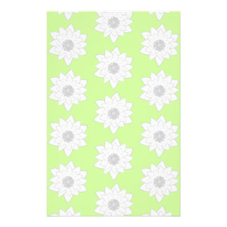 Water Lilies Pattern in Green, White and Grey. Custom Flyer