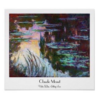 Water Lilies, Setting Sun Claude Monet Poster