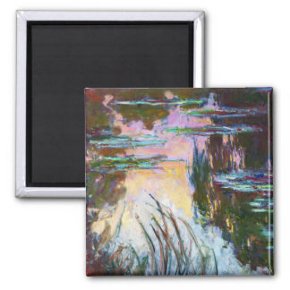 Water Lilies, Setting Sun Claude Monet Square Magnet