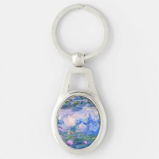 Water Lilies Silver-Colored Oval Key Ring