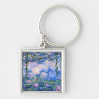 Water Lilies Silver-Colored Square Key Ring