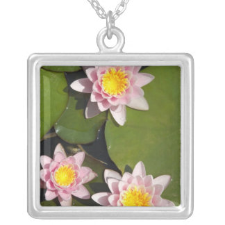 Water lilies silver plated necklace