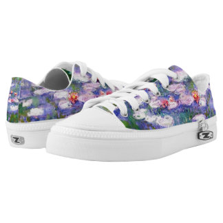 Water Lilies with Purple Claude Monet Fine Art Low Tops