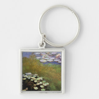 Water-Lillies: 1914-17 by Monet Silver-Colored Square Key Ring