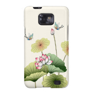 Water Lillies Butterflies Nature Illustration Galaxy SII Case