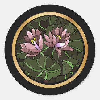 Water Lillies Round Sticker