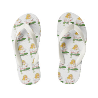 Water Lilly Cute Flower Child Floral Funny Girl Kid's Flip Flops