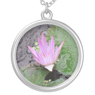 Water Lilly Round Pendant Necklace
