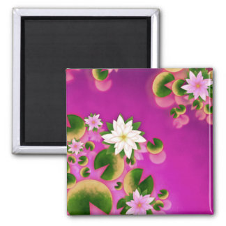 Water Lillys Pink Square Magnet