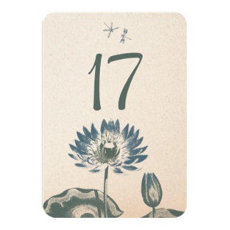 Water Lily and Dragonfly 9 Cm X 13 Cm Invitation Card