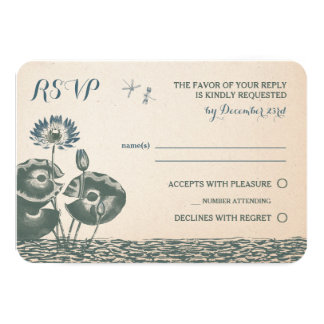 Water Lily and Dragonfly RSVP Invitation