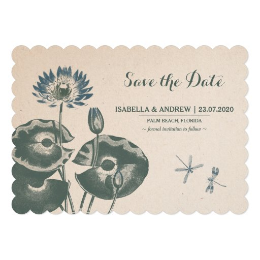 Water Lily and Dragonfly Save The Date Card