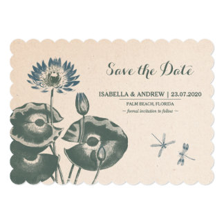 "Water Lily and Dragonfly Save The Date 5"" X 7"" Invitation Card"