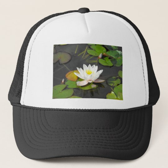 Water Lily and Leaves with coin Trucker Hat