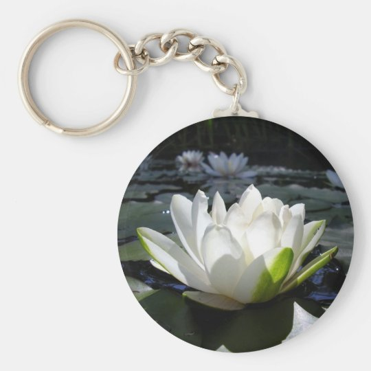 Water lily basic round button key ring