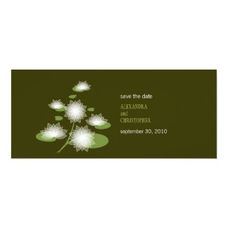 "Water Lily Elegant Simple Save The Date Wedding 4"" X 9.25"" Invitation Card"