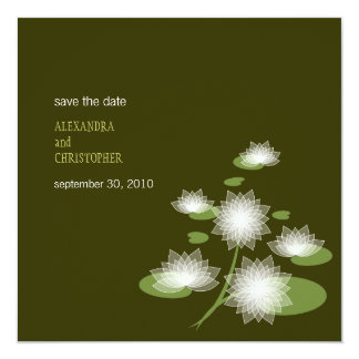 Water Lily Elegant Simple Save The Date Wedding 13 Cm X 13 Cm Square Invitation Card