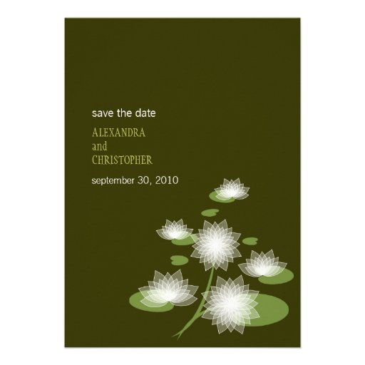 Water Lily Elegant Simple Save The Date Wedding Personalized Announcement