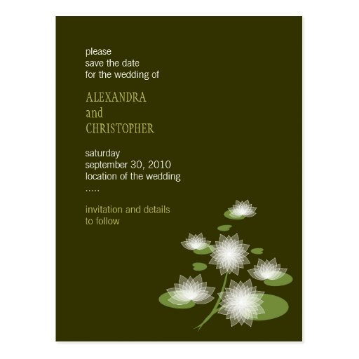 Water Lily Elegant Simple Save The Date Wedding Postcards
