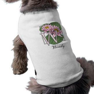 Water Lily Flower Monogram Doggie Tshirt