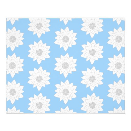 Water Lily Flower Pattern. Blue, White and Gray. Custom Flyer