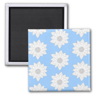 Water Lily Flower Pattern Blue White and Gray Fridge Magnets
