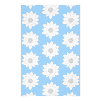 Water Lily Flower Pattern. Blue, White and Grey. Flyer Design